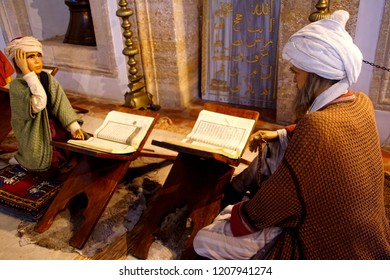 EDIRNE, TURKEY - MAY 2, 2018 -Diorama and mannequins showing medieval Islamic medical practise, at a medical museum in Edirne,Turkey