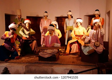 EDIRNE, TURKEY - MAY 2, 2018 -Diorama and mannequins showing musicians at a hospital, at a medical museum in Edirne,Turkey