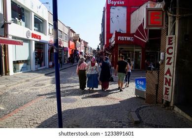 EDIRNE, TURKEY - MAY 2, 2018 - Veiled Turkish women in traditional clothing in the market street of Edirne,Turkey