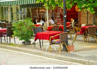 EDIRNE, TURKEY - MAY 2, 2018 -Dining at outdoor restaurant in Edirne,Turkey