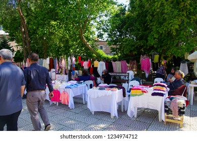 EDIRNE, TURKEY - MAY 2, 2018 -Turkish women selling handmade lace and other crafts in Edirne,Turkey