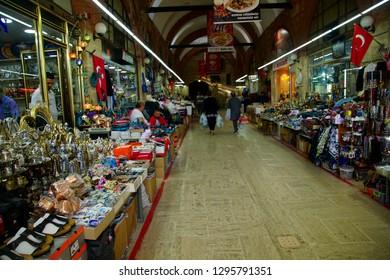 EDIRNE, TURKEY - MAY 2, 2018 - Covered market near  Sinan's Selimiye Mosque, Edirne,Turkey