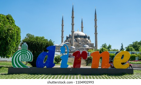 Edirne, Turkey - May 2018: Edirne Logo and Selimiye Mosque in Edirne, Turkey