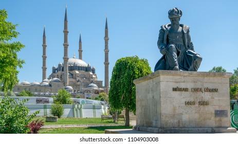 Edirne, Turkey - May 2018: Selimiye Mosque and statue of its architect Mimar Sinan, Edirne, Turkey