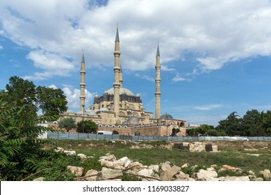 EDIRNE, TURKEY - MAY 26, 2018: Built by architect Mimar Sinan between 1569 and 1575 Selimiye Mosque in city of Edirne,  East Thrace, Turkey