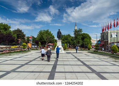 EDIRNE, TURKEY - MAY 26, 2018: Typical street in the center of city of Edirne,  East Thrace, Turkey