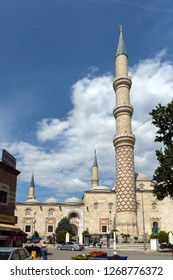 EDIRNE, TURKEY - MAY 26, 2018:  Outside view of Uc Serefeli mosque Mosque in the center of city of Edirne,  East Thrace, Turkey