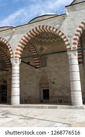 EDIRNE, TURKEY - MAY 26, 2018:  Inside view of Uc Serefeli mosque Mosque in the center of city of Edirne,  East Thrace, Turkey