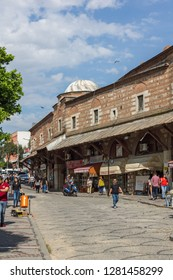 EDIRNE, TURKEY - MAY 26, 2018: Shopping  pedestrian street in the center of city of Edirne,  East Thrace, Turkey