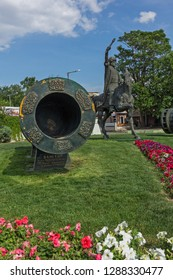 EDIRNE, TURKEY - MAY 26, 2018:  Monument of Ottoman Sultan Mehmed II with medieval cannon in city of Edirne,  East Thrace, Turkey