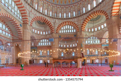 EDIRNE - TURKEY - OCTOBER 21,2014: Interior of the Selimiye Mosque. The UNESCO World Heritage Site Of The Selimiye Mosque, Built By Mimar Sinan In 1575 in Edirne