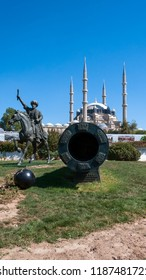 EDIRNE, TURKEY - SEPTEMBER 22, 2018:  Selimiye Mosque and monument of Ottoman Sultan Mehmed II (Mehmed The Conqueror) in city of Edirne,  East Thrace, Turkey