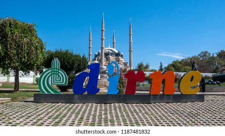 EDIRNE, TURKEY - SEPTEMBER 22, 2018: Outside view of Selimiye Mosque Built between 1569 and 1575  in city of Edirne,  East Thrace, Turkey
