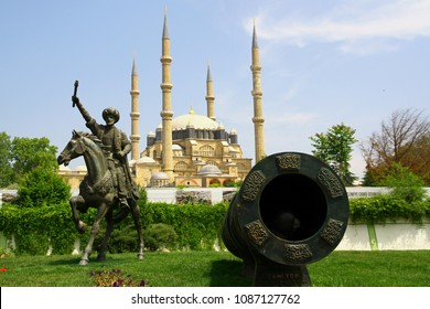 EDIRNE,TURKEY-6 May 2018. A view from the historical city center of Edirne.  Selimiye Mosque, a symbolic cannonball and the monument of Ottoman empire Mehmed II,commonly known as Mehmed The Conqueror.