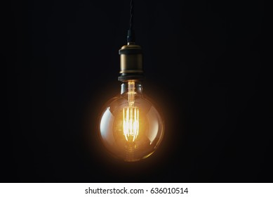 Edison Lightbulb on black background