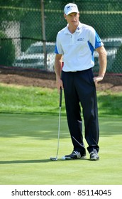EDISON, NJ- AUGUST 24: Golfer Jim Furyk waits to putt during the Barclays pro-am held at the Plainfield Country Club on August 24,2011 in Edison, NJ.