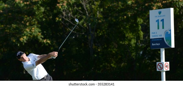 EDISON, NJ-AUGUST 26:Jim Furyk watches his shot during the Barclays Pro-Am held at the Plainfield Country Club in Edison,NJ,August 26,2015.