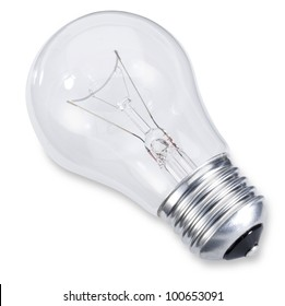 an Edison screw light bulb isolated on white with clipping path