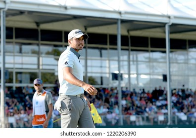 EDISON,NEW JERSEY - AUGUST 28,2015: Jason Day takes a look at his fans during the second round of the Barclays Tournament held at the Plainfield Country Club  in Edison,New Jersey.