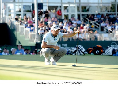 EDISON,NEW JERSEY - AUGUST 28,2015: Jason Day lines up his putt during the second round of the Barclays Tournament held at the Plainfield Country Club in Edison,New Jersey.