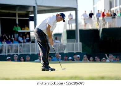 EDISON,NEW JERSEY - AUGUST 28,2015: Phil Mickelson watches his putt during the second round of the Barclays Tournament held at the Plainfield Country Club in Edison,New Jersey.
