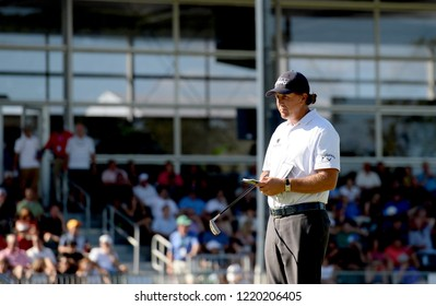 EDISON,NEW JERSEY - AUGUST 28,2015: Phil Mickelson takes a look at the green during the second round of the Barclays Tournament held at the Plainfield Country Club in Edison,New Jersey.