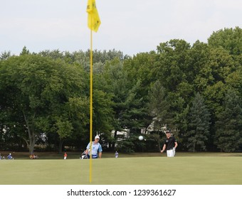 EDISON,NEW JERSEY - AUGUST 30,2015: Carlos Ortiz watches his shot during the final round of the Barclays Tournament held at the Plainfield Country Club in Edison,New Jersey.