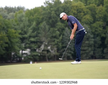 EDISON,NEW JERSEY - AUGUST 30,2015: Sean O'Hair watches his putt at the 18th hole during the final round of the Barclays Tournament held at the Plainfield Country Club in Edison,New Jersey.