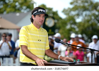 EDISON,NJ-AUGUST 25 Bubba Watson talks about Birdies for the Brave before being presented with his Military Appreciation Award Ceremony held at the Plainfield Country Club in Edison,NJ,August 25,2015.