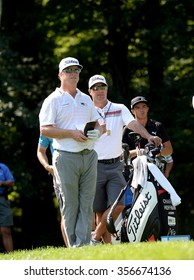EDISON,NJ-AUGUST 25:Charley Hoffman takes a look down the fairway during the Barclays Tournament practice round held at the Plainfield Country Club in Edison,NJ,August 25,2015.