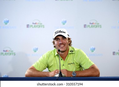 EDISON,NJ-AUGUST 26: Brooks Koepka answers questions from the press at the Barclays 2015 Pre-tournament press conference.Edison,NJ,August 25,2015.
