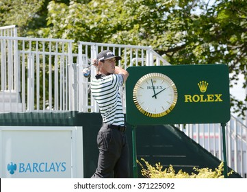 EDISON,NJ-AUGUST 26:Billy Horschel  watches his shot during the Barclays Pro-Am held at the Plainfield Country Club in Edison,NJ,August 26,2015.