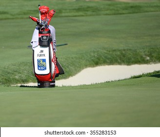 EDISON,NJ-AUGUST 26:Jim Furyk's golf bag sits on the green during the Barclays Pro-Am held at the Plainfield Country Club in Edison,NJ,August 26,2015.