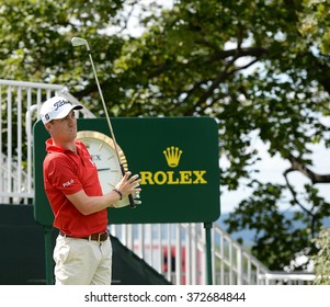 EDISON,NJ-AUGUST 26:Justin Thomas watches his shot during the Barclays Pro-Am held at the Plainfield Country Club in Edison,NJ,August 26,2015.