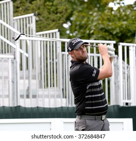 EDISON,NJ-AUGUST 26:Marc Leishman watches his shot during the Barclays Pro-Am held at the Plainfield Country Club in Edison,NJ,August 26,2015.