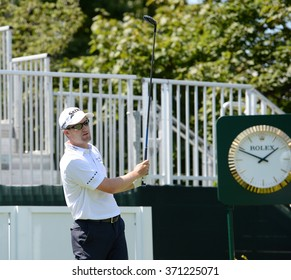 EDISON,NJ-AUGUST 26:Russell Knox watches his shot during the Barclays Pro-Am held at the Plainfield Country Club in Edison,NJ,August 26,2015.