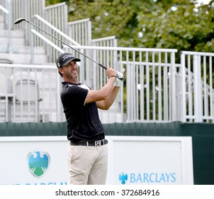 EDISON,NJ-AUGUST 26:Scott Piercy watches his shot during the Barclays Pro-Am held at the Plainfield Country Club in Edison,NJ,August 26,2015.
