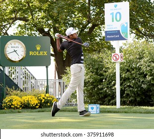EDISON,NJ-AUGUST 26:Tony Finau watches his shot during the Barclays Pro-Am held at the Plainfield Country Club in Edison,NJ,August 26,2015.