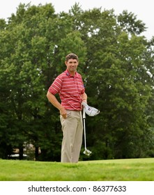 EDISON,NJ-AUGUST 27:Golfer Padraig Harrington smiles at  the crowd after completing the final round of the Barclays Tournament held at the Plainfield Country Club on August 27,2011 in Edison,NJ.