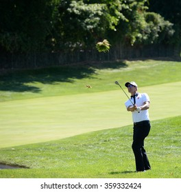 EDISON,NJ-AUGUST 28:Adam Scott watches his shot during the second round of the Barclays Tournament held at the Plainfield Country Club in Edison,NJ,August 28,2015.