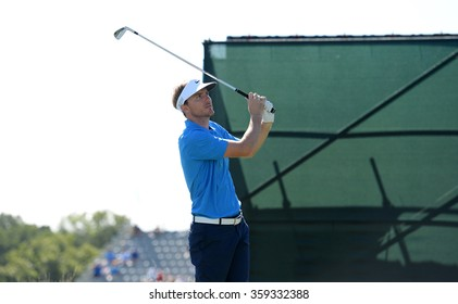 EDISON,NJ-AUGUST 28:Russell Henley watches his shot during the second round of the Barclays Tournament held at the Plainfield Country Club in Edison,NJ,August 28,2015.