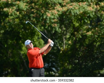 "EDISON,NJ-AUGUST 28:Thomas Brent ""Boo"" Weekley watches his shot during the second round of the Barclays Tournament held at the Plainfield County Club in Edison,NJ,August 28,2015."