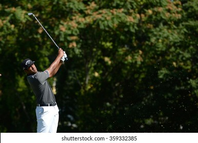 EDISON,NJ-AUGUST 28:Tony Finau watches his shot during the second round of the Barclays Tournament held at the Plainfield Country Club in Edison,NJ,August 28,2015.