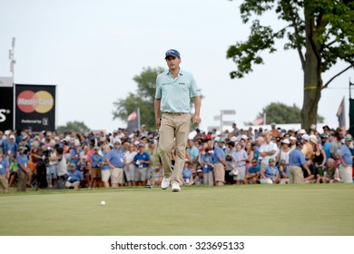 EDISON,NJ-AUGUST 30: Kevin Kisner lines up his putt at the 18th hole during the final round of the Barclays held at the Plainfield Country Club in Edison,NJ,August 30,2015.