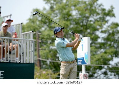 EDISON,NJ-AUGUST 30: Kevin Kisner watches his shot from the 1st Tee during the final round of the Barclays Tournament held at the Plainfield Country Club in Edison,NJ,August 30,2015.
