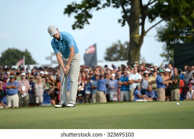 EDISON,NJ-AUGUST 30: Zach Johnson watches his putt at the 18th hole during the final round of the Barclays tournament held at the Plainfield Country Club in Edison,NJ,August 30,2015.