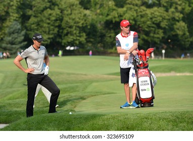 EDISON,NJ-AUGUST 30:Henrik Stenson looks at his ball in the rough at the 18th hole during the final round of the Barclays Tournament held at the Plainfield Country Club in Edison,NJ,August 30,2015.