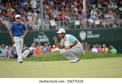 EDISON,NJ-AUGUST 30:Hideki Matsuyama lines up his putt on the 18th hole during the final round of the Barclays Tournament held at the Plainfield Country Club in Edison,NJ,August 30,2015.