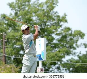 EDISON,NJ-AUGUST 30:Hideki Matsuyama watches his shot from the 1st Tee during the final round of the Barclays Tournament held at the Plainfield Country Club in Edison,NJ,August 30,2015.