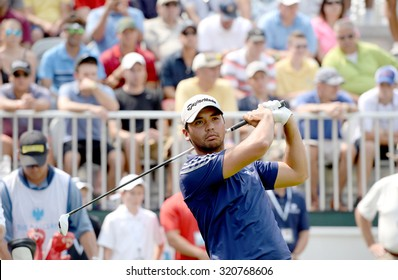 EDISON,NJ-AUGUST 30:Jason Day takes a practice swing from the 1st Tee during the final round of the Barclays Tournament held at the Plainfield Country Club in Edison,NJ,August 30,2015.